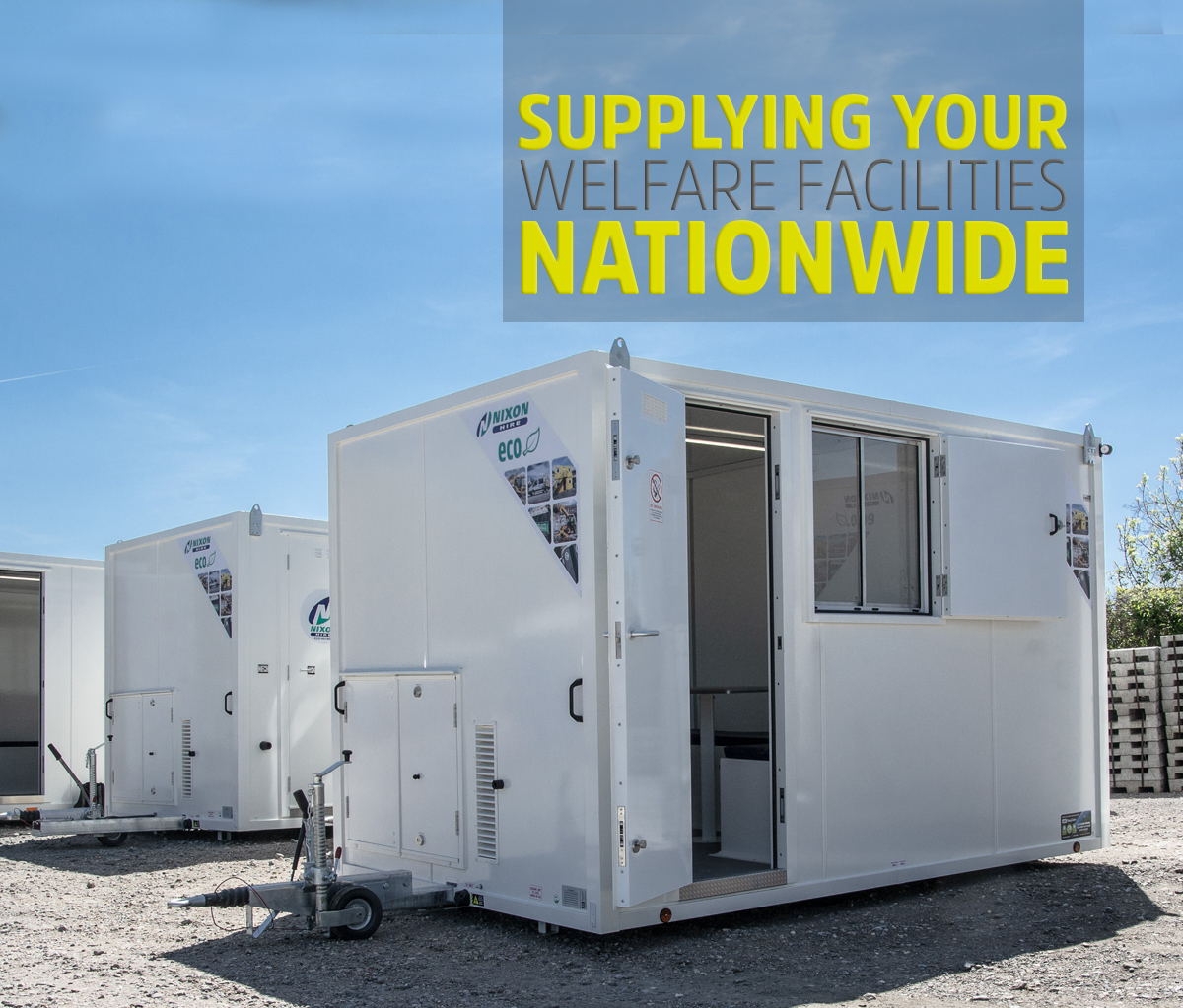 Row Of White 20 Foot Mobile Welfare Cabins On Site